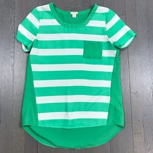 J.Crew Factory Green Striped Short Sleeve Blouse